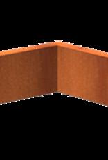 Pottenland Keerwand cortenstaal binnenhoek 50 x 50 x 20 cm