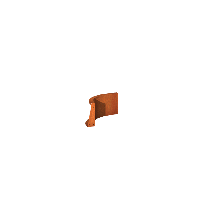 Pottenland Keerwand cortenstaal binnenbocht 50 x 50 x 30 cm
