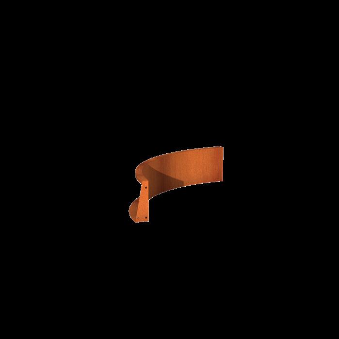 Pottenland Keerwand cortenstaal binnenbocht 100 x 100 x 30 cm