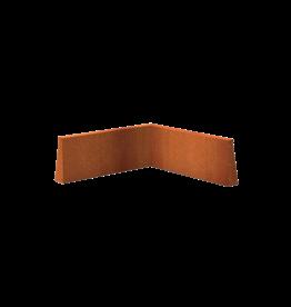 Pottenland Keerwand cortenstaal binnenhoek 100 x 100 x 40 cm