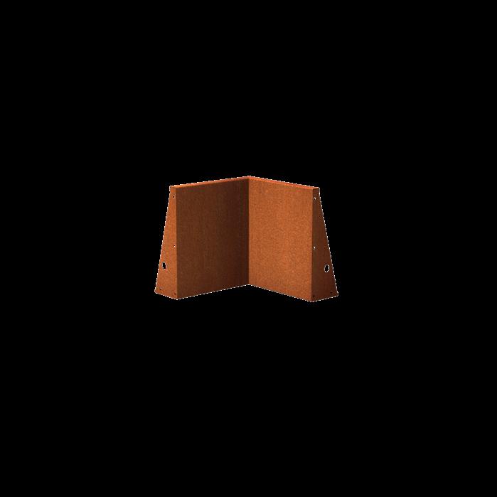 Pottenland Keerwand cortenstaal binnenhoek 50 x 50 x 60 cm