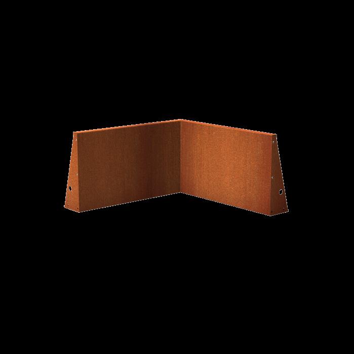 Pottenland Keerwand cortenstaal binnenhoek 100 x 100 x 60 cm