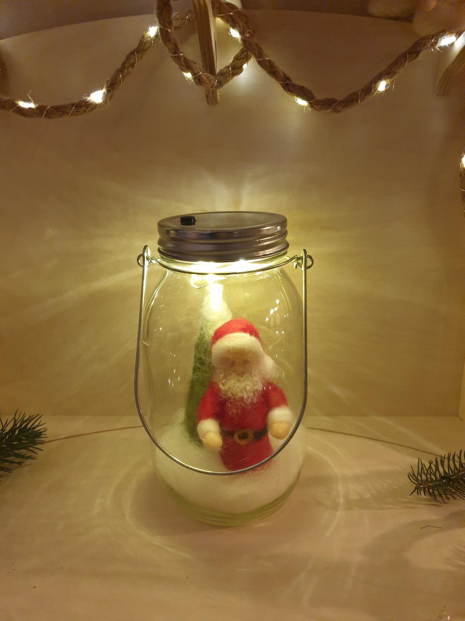 De Wolshoop Pot met verlichting Kerstman