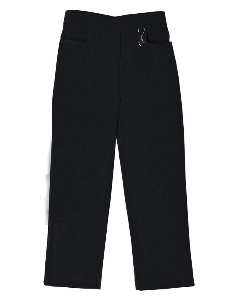 Girls Black Trouser with Half Elastic Waist