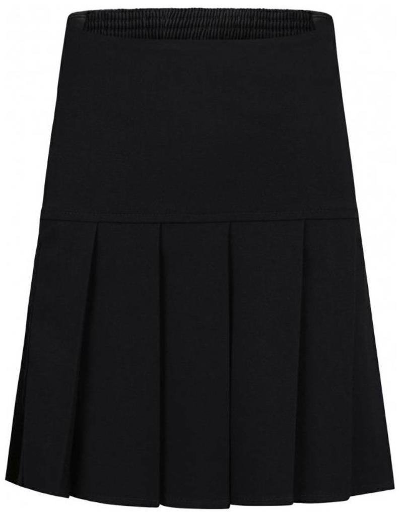 Black Stretch Full Pleat Skirt
