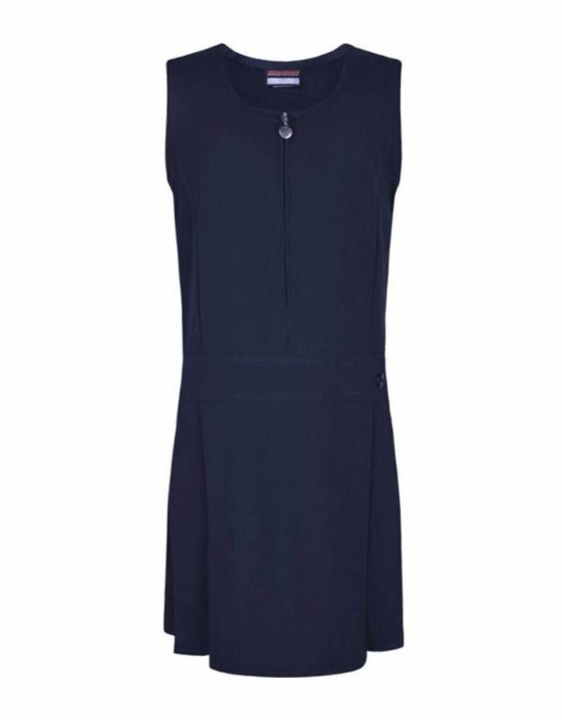 Navy Pinafore Half Pleat One Button