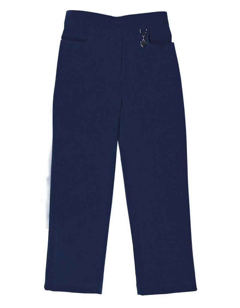 Girls Navy Trouser with Half elastic waist