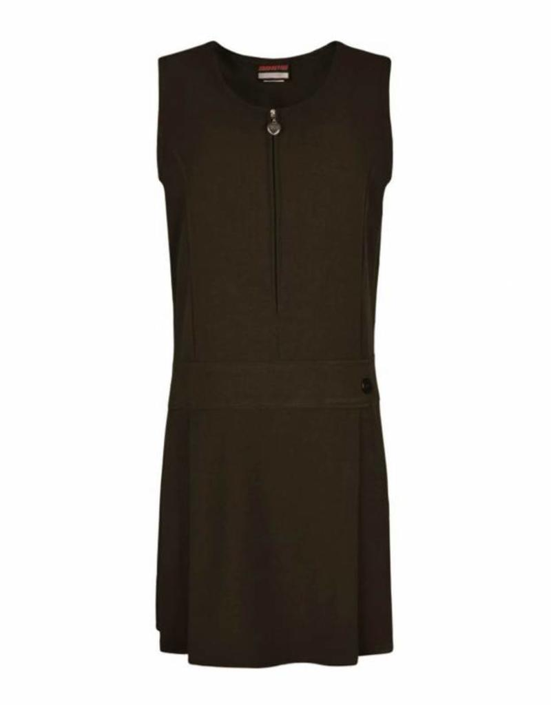 Brown Pinafore Half Pleat One Button