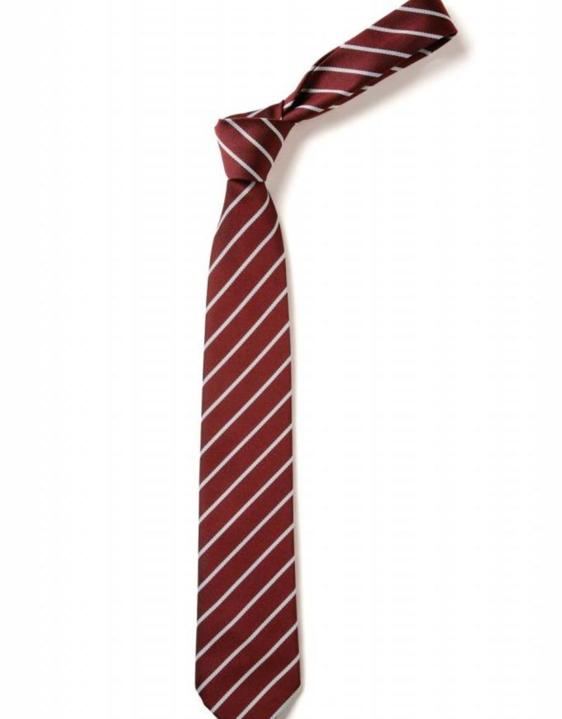 Grammar School Striped Tie Maroon and White