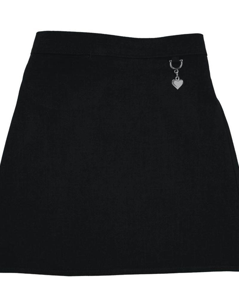 Black Lycra Heart Detail Skirt