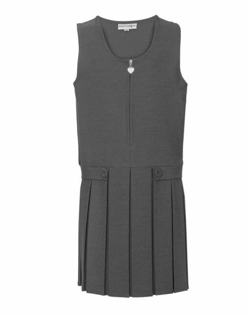 Grey Pinafore Full Pleat Two Button