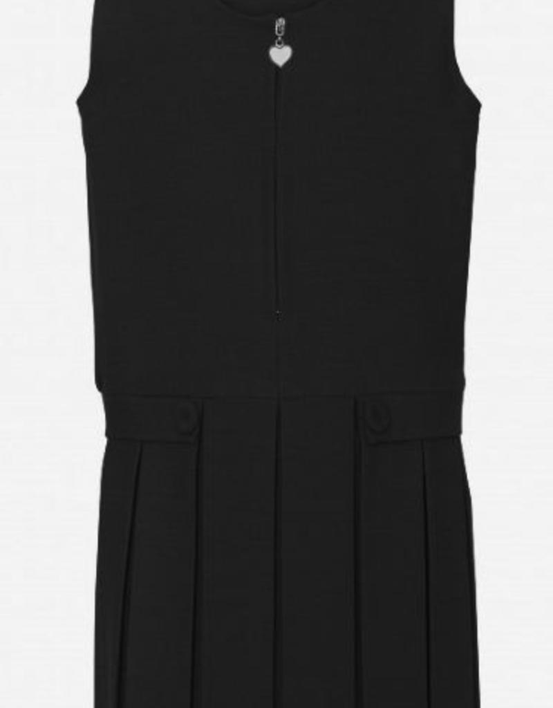 Black Pinafore Full Pleat Two Button