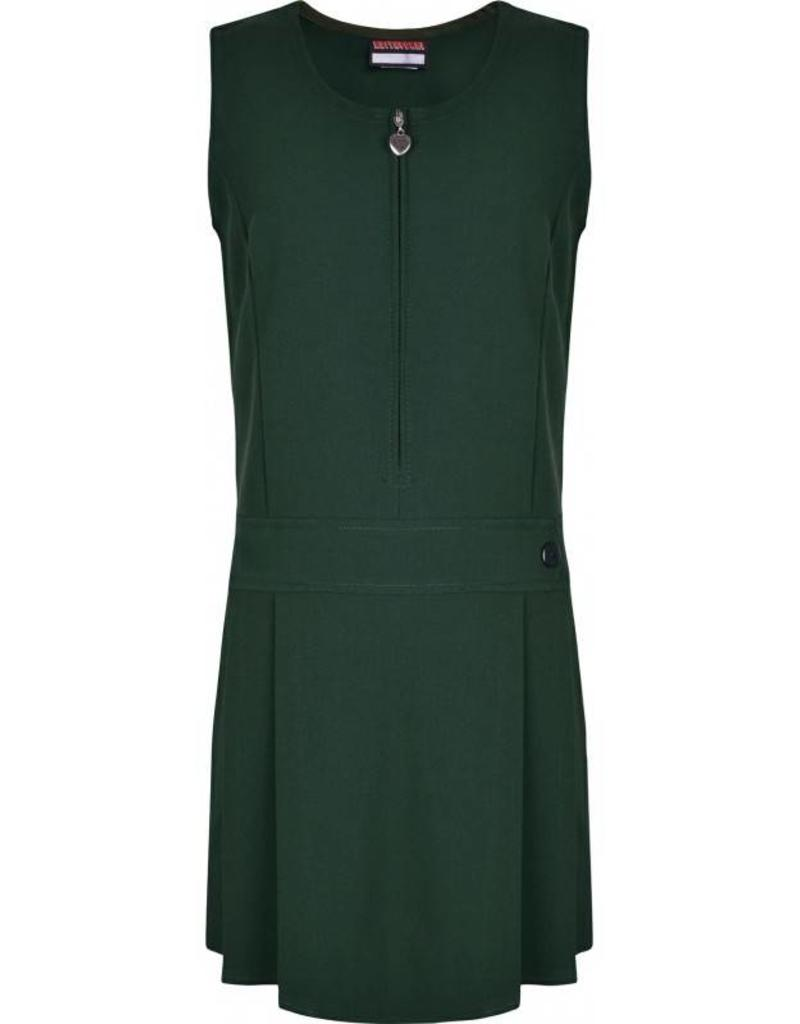 Bottle Green Pinafore Half Pleat One Button