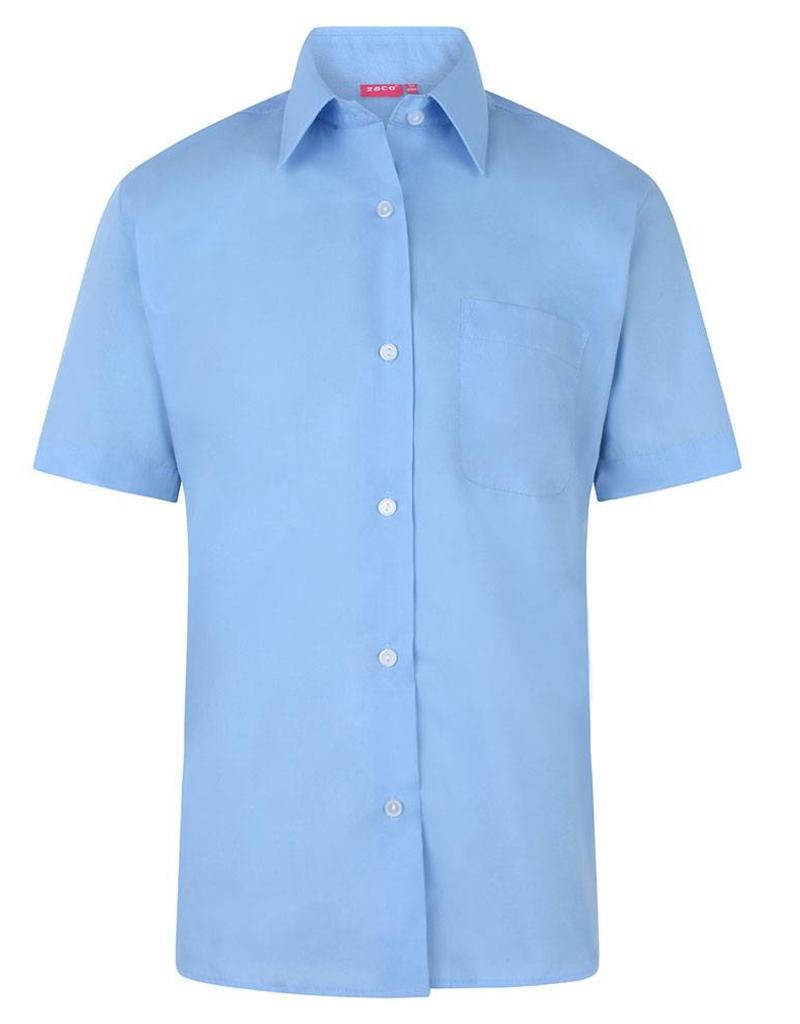 Girls Sky Blue Short Sleeve Shirt Twin Pack