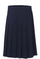 Navy Stitch Down Skirt Pleated