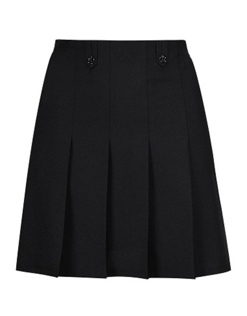Black Flower Button Skirt