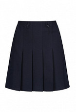 Navy Flower Button Skirt