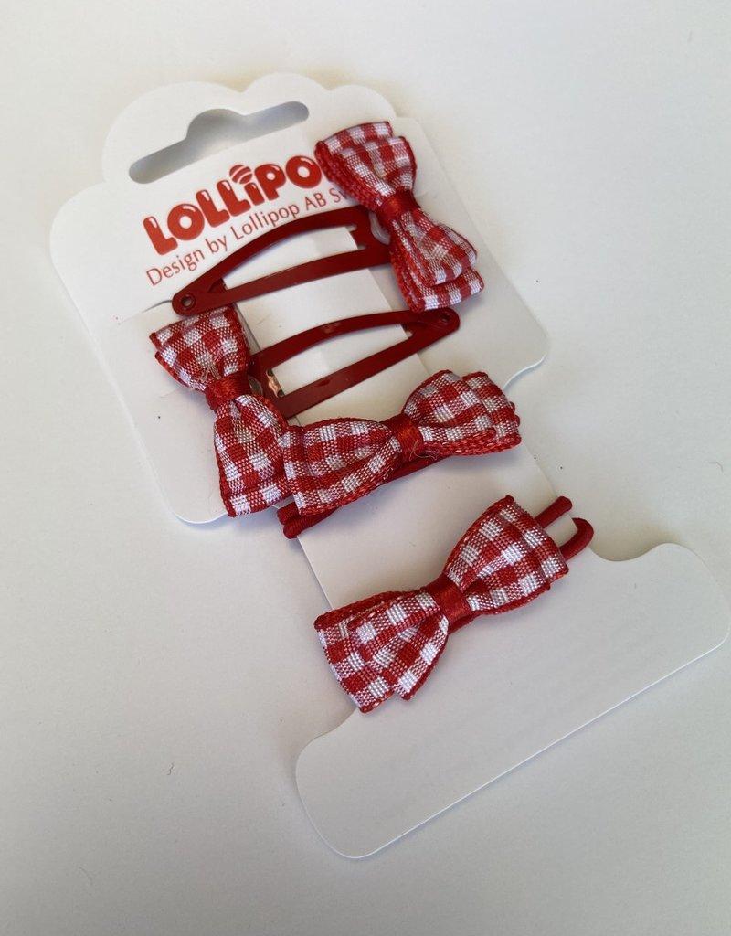 Lollipop Gingham Bobble & Clip Various Colours
