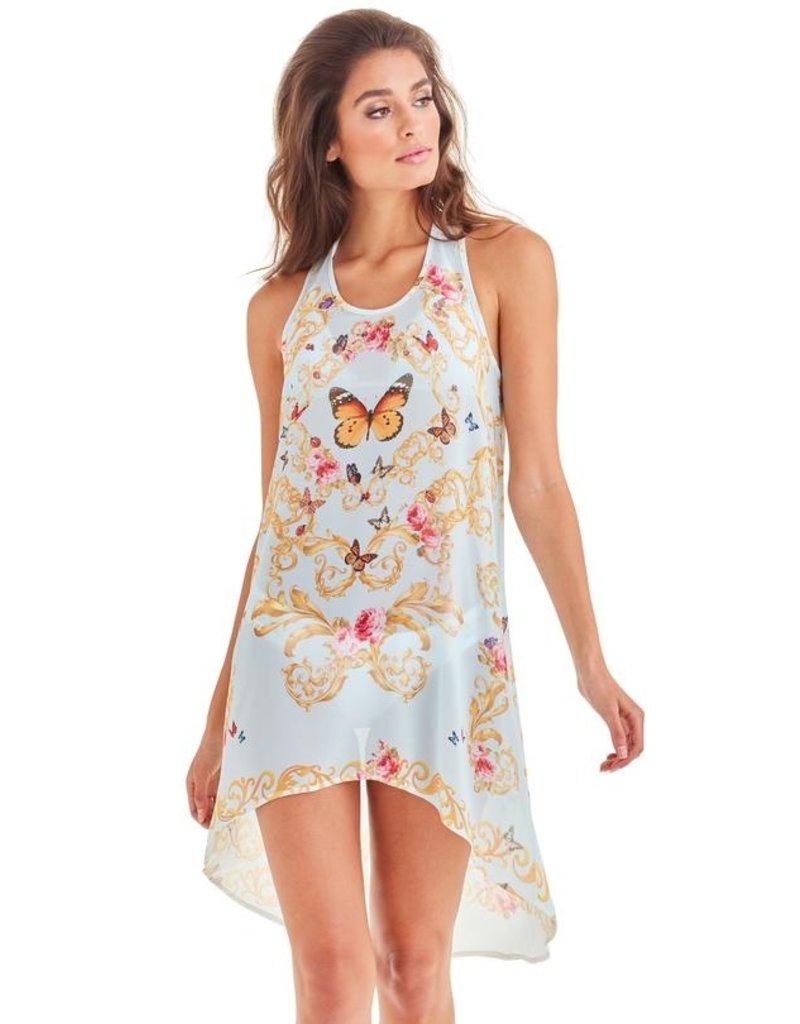 -50% Racerback Dress - Blue Butterfly