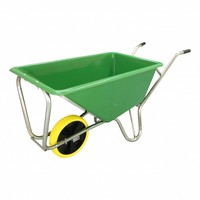Kruiwagen Stal eco Groen 160 liter Met Enkele Premium Flex Antilek Wiel
