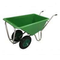 Kruiwagen Stal Eco Groen 160 liter Met Dubbel Antilek Wiel