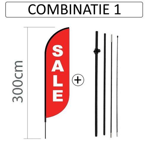 Proflag Beachflag Convex S - 60x240cm - SALE Print - Combi 1