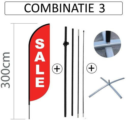 Beachflag Convex S - 60x240cm - SALE Print - Combi 3