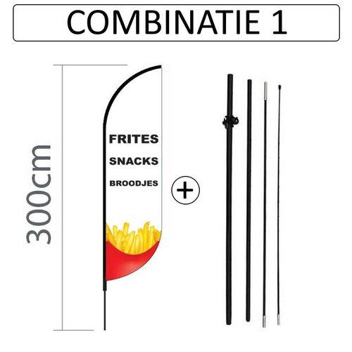 Proflag Beachflag Convex S - 60x240cm - SNACKBAR - Combi 1