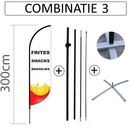 Proflag Beachflag Convex S - 60x240cm - SNACKBAR - Combi 3