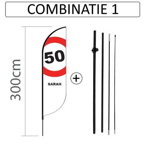 Proflag Beachflag Convex S - 60x240cm - SARAH - combi 1