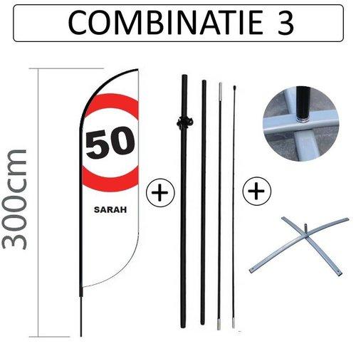Proflag Beachflag Convex S - 60x240cm - SARAH - combi 3