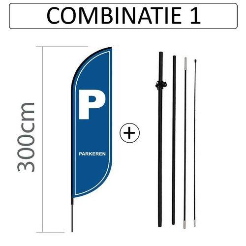 Proflag Beachflag Convex S - 60x240cm - PARKEREN - Combi 1