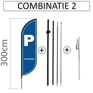 Proflag Beachflag Convex S - 60x240cm - PARKEREN - Combi 2