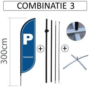 Proflag Beachflag Convex S - 60x240cm - PARKEREN - Combi 3