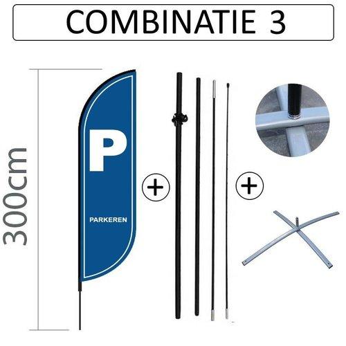 Beachflag Convex S - 60x240cm - PARKEREN - Combi 3