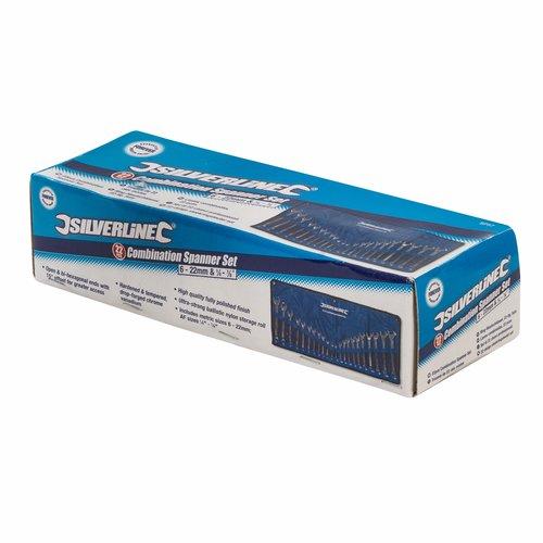 """Silverline Steekringsleutel Set - 6 t/m 22 mm. en 1/4"""" t/m 7/8"""" - 22 Delig"""