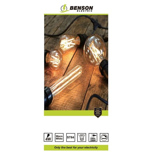 Benson LED Lamp Retro Filament - Warm Wit - ST64 -  4W - E27 - Dimbaar