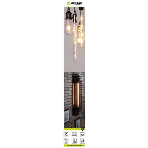 Benson LED Lamp Retro Filament Buis - Warm Wit - T30 -  4W - E27 - Dimbaar