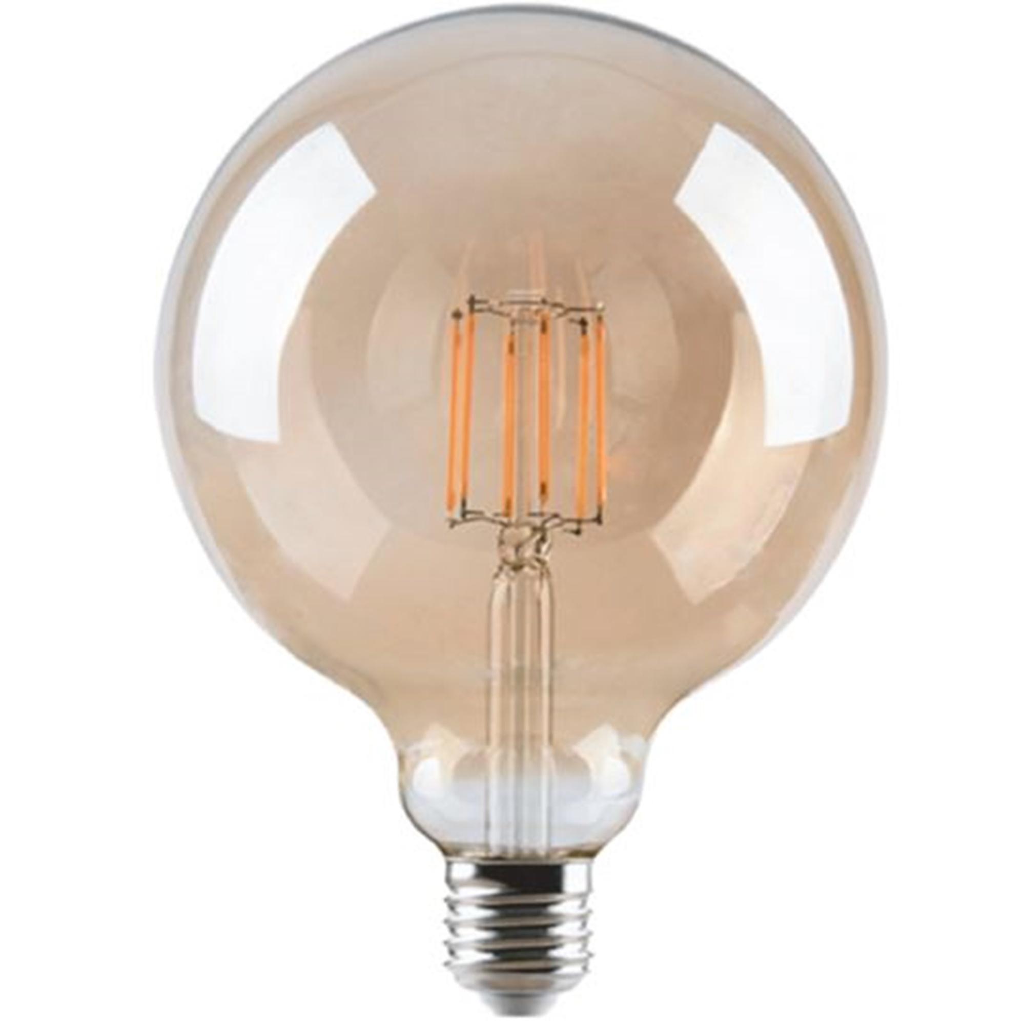 LED Lamp Retro Filament Bol - Warm Wit - G125 -  4W - E27 - Dimbaar