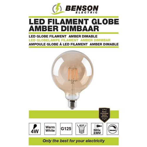 Benson LED Lamp Retro Filament Bol - Warm Wit - G125 -  4W - E27 - Dimbaar