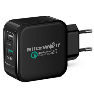 BlitzWolf Quick Charge 2.0 & Power3S Tech Zwart