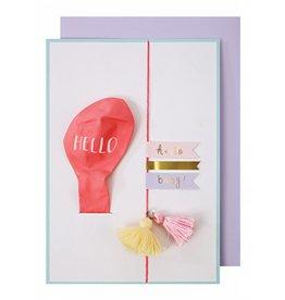 Meri Meri Meri Meri pink hello baby balloon card