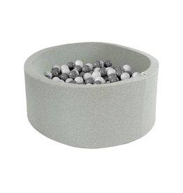Misioo Misioo ballenbad rond 90x40 lichtgrijs met 200 ballen (wit, grijs)