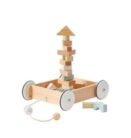 Kid's Concept Kid's Concept trekwagentje met blokken natural 28x26