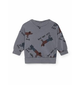 Bobo Choses Bobo Choses sweatshirt round neck cats and dogs dusty blue