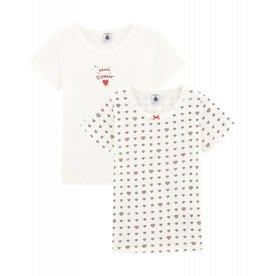 Petit Bateau Petit Bateau set van 2 meisjes T-shirts met korte mouwen hart