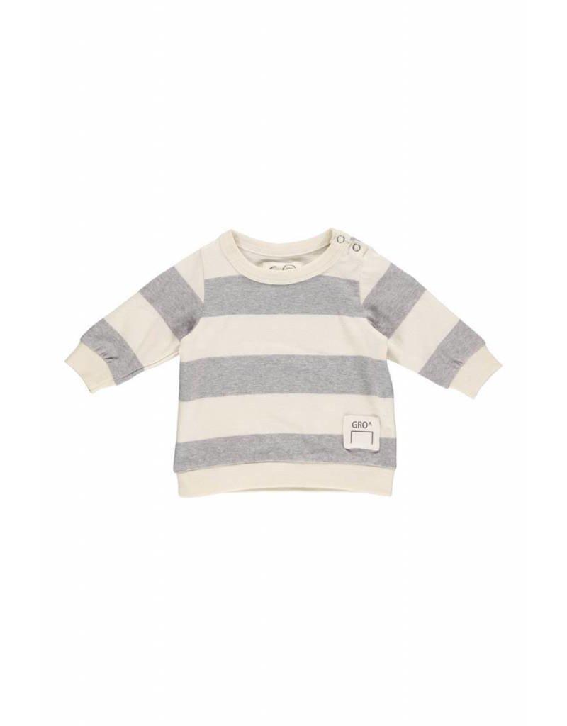 Gro Gro Venus baby sweater stripe sand/melange grey