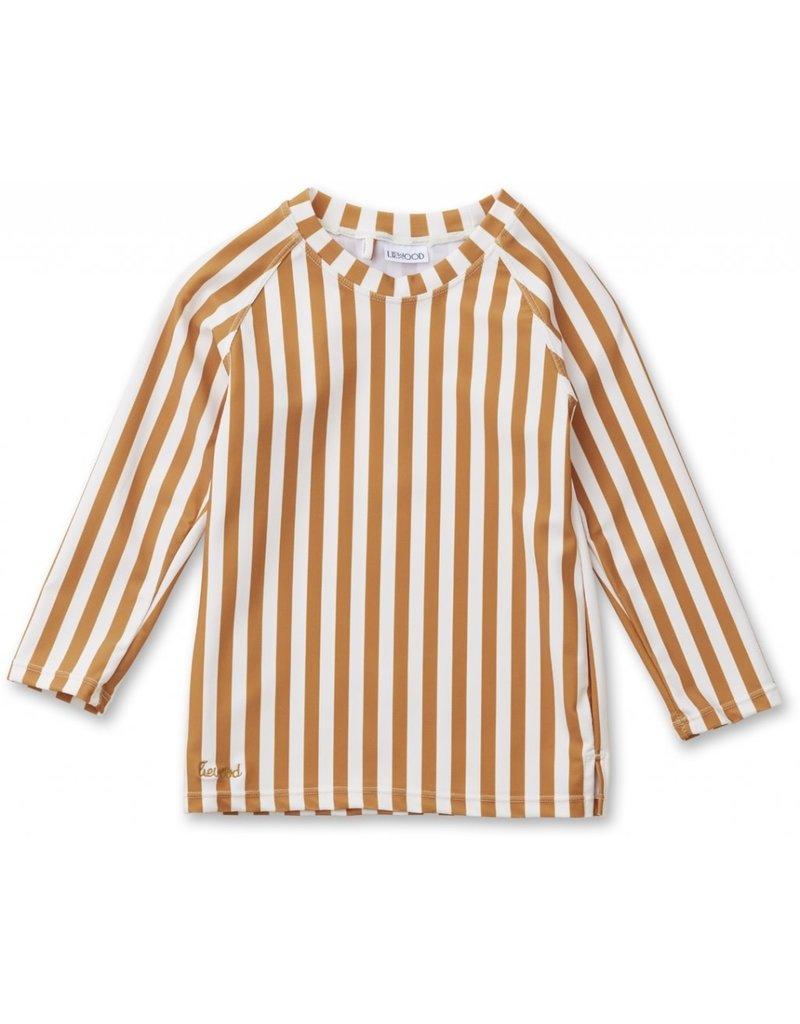 Liewood Liewood Noah swim tee stripe mustard/creme de la creme