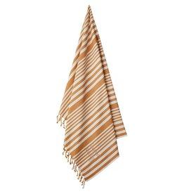 Liewood Monroe beach towel stripe mustard/creme de la creme