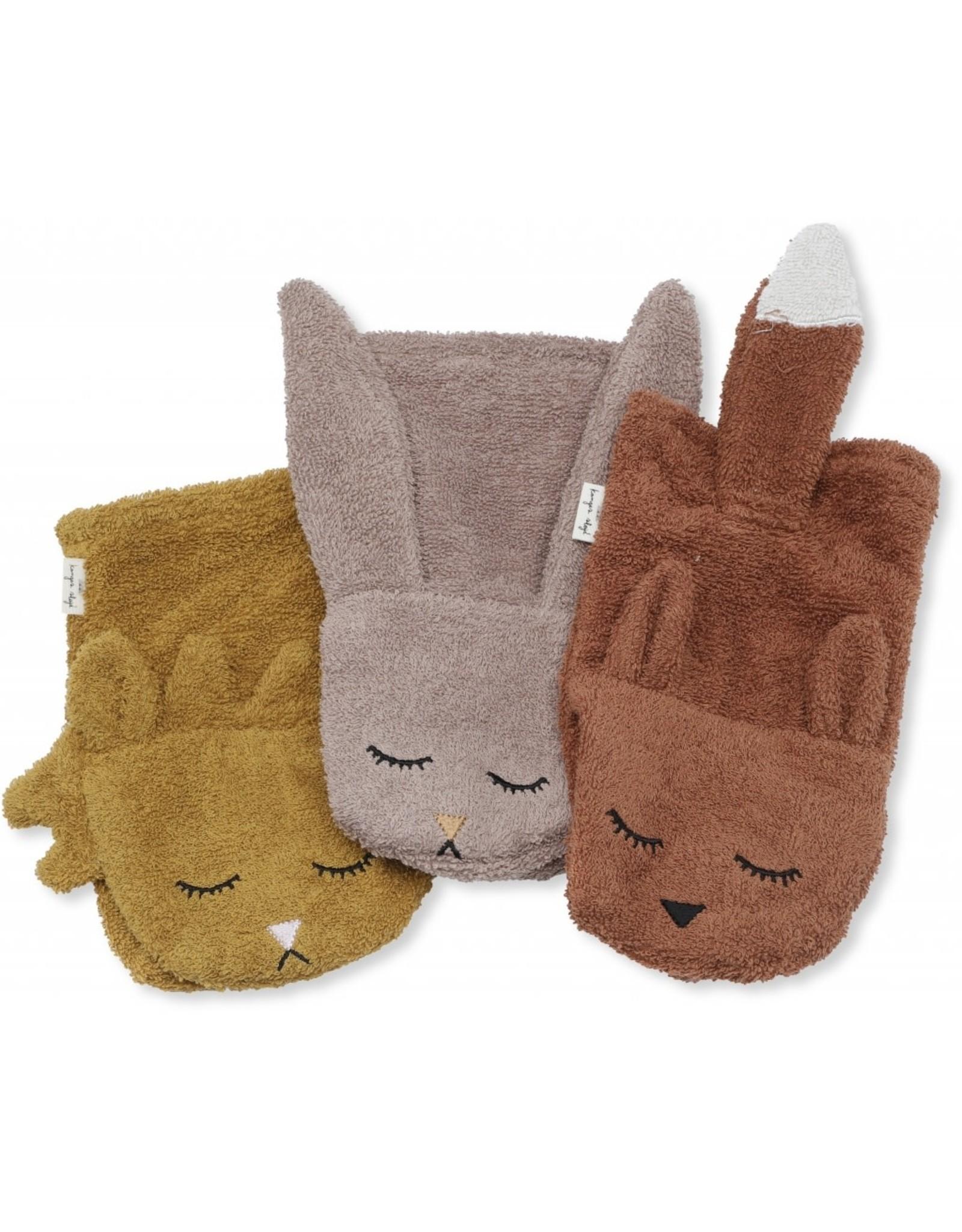 Konges Slojd Konges Slojd wash cloths animals girl 3-pack
